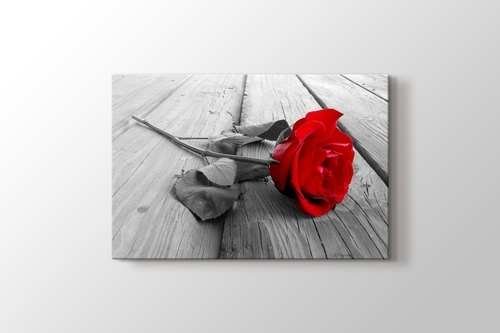 Red Rose on Wood görseli.