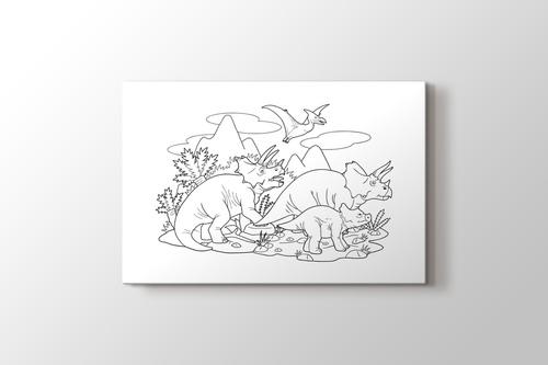 Dinozor boyama tablo görseli.