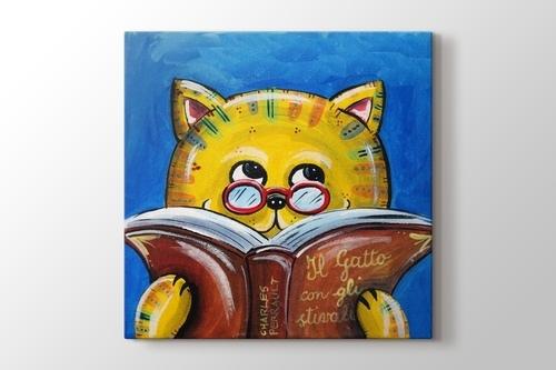 Cat Reading Book görseli.