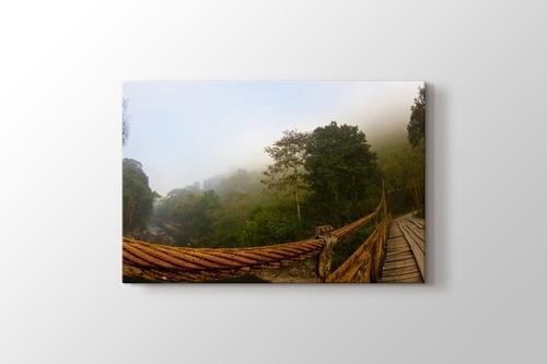 Ormanın üstüne Ahşap Köprü görseli.