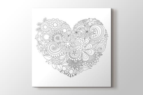 Kalp desenli boyama tablo görseli.
